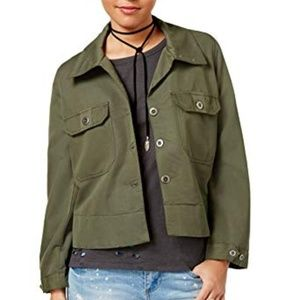 Army green cropped jacket NWT